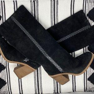 UGG Maeva Suede Leather Braid Tall High Heel Boots